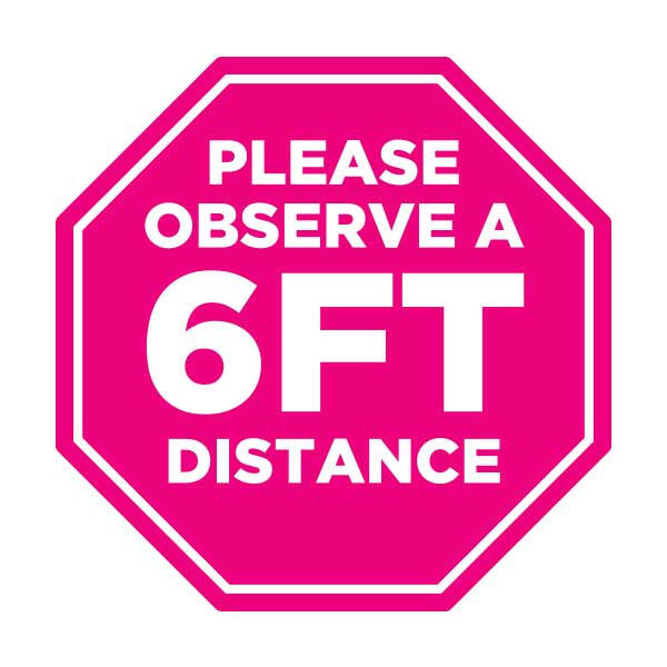 6 feet distance sticker