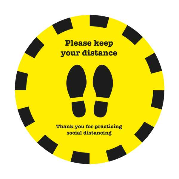 safe distance round sticker